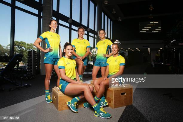 Alicia Quirk Charlotte Caslick Evania Pelite Dominique Du Toit and Emma Tonegato of the Australian Women's Sevens team pose during the Australian...