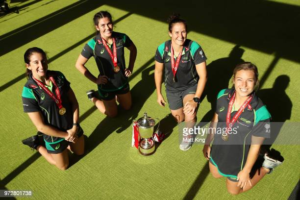 Alicia Quirk Charlotte Caslick Shannon Parry and Emma Tonegato of the Australian Women's Sevens team pose following their 20172018 Sevens World...