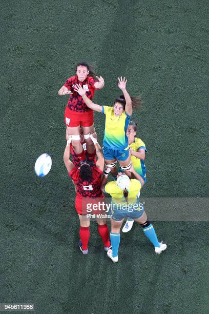 Alicia Quirk of Australia and Kayleigh Powell of Wales jumpin the lineout in the game between Australia and Wales during Rugby Sevens on day nine of...