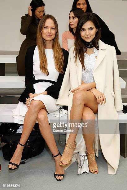 Alicia Rountree and Doina Ciobanu attend the Antonio Berardi LFW AW16 runway show at Brewer Street Car Park on February 22 2016 in London England