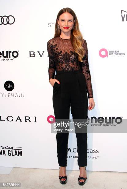Alicia Rountree attends the 25th annual Elton John AIDS Foundation's Oscar Viewing Party Arrivals at The City of West Hollywood Park on February 26...