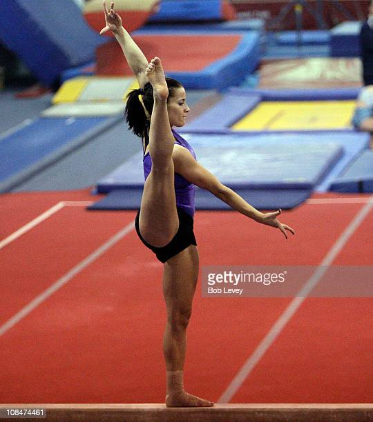 Alicia Sacramone a member of the 2008 team that won silver in Beijing works out during a morning session at the Karolyi Ranch on January 26 2011 in...