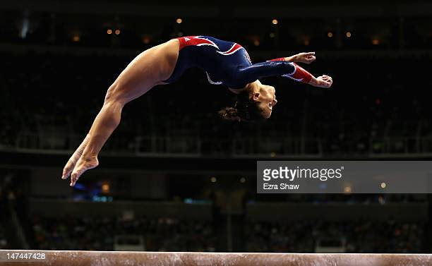 Alicia Sacramone competes on the beam during day 2 of the 2012 US Olympic Gymnastics Team Trials at HP Pavilion on June 29 2012 in San Jose California