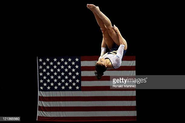 Alicia Sacramone competes on the floor during the Senior Women's competition on day two of the Visa Gymnastics Championships at Xcel Energy Center on...
