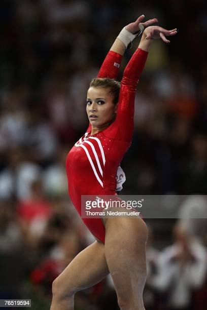 Alicia Sacramone of the USA performs on the floor during the woman's team final of the 40th World Artistic Gymnastics Championships on September 5...
