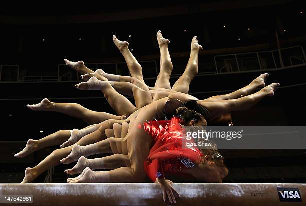 Alicia Sacramone practices on the beam before the start of competition on day 4 of the 2012 US Olympic Gymnastics Team Trials at HP Pavilion on July...
