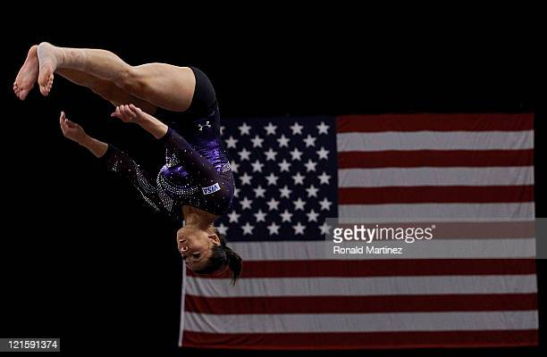 Alicia Sacramone stretches before the Senior Women's competition on day four of the Visa Gymnastics Championships at Xcel Energy Center on August 20...
