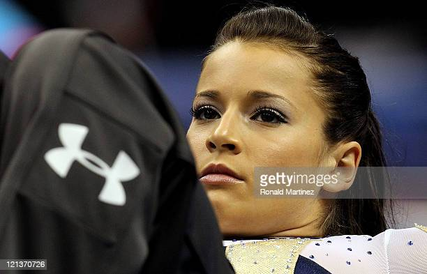 Alicia Sacramone warms up during the Senior Women's competition on day two of the Visa Gymnastics Championships at Xcel Energy Center on August 18...