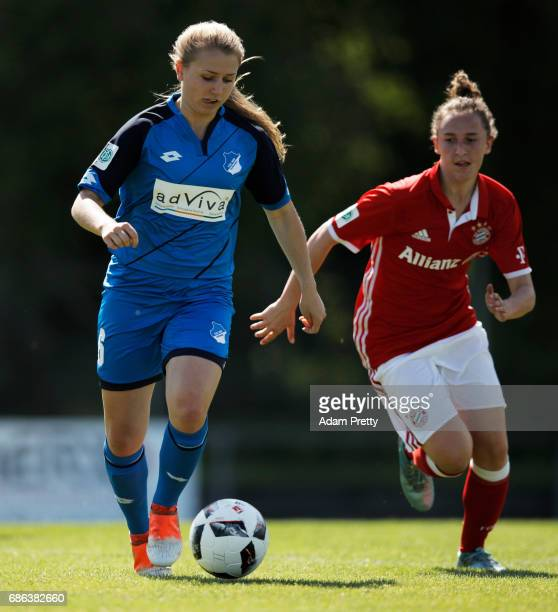 Alicia Schinko of Hoffenheim II is challenged by Melanie Keunrath of FC Bayern Munich II during the match between 1899 Hoffenheim II and FCB Muenchen...