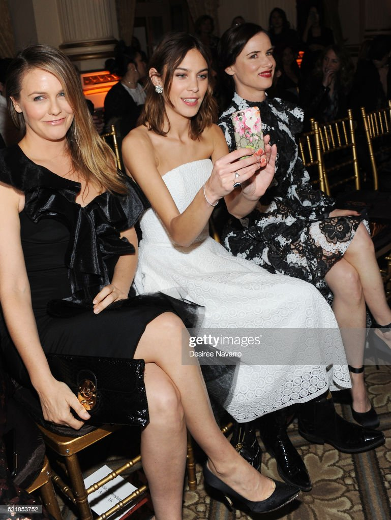 Alicia Silverstone, Alexa Chung and Juliette Lewis attend the Christian Siriano show during, New York Fashion Week: The Shows at The Plaza Hotel on February 11, 2017 in New York City.