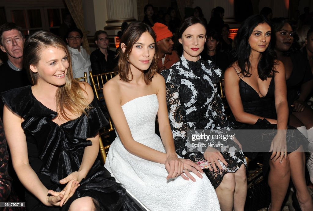 Alicia Silverstone, Alexa Chung, Juliette Lewis and Morena Baccarin attend the Christian Siriano show during New York Fashion Week: The Shows at The Plaza Hotel on February 11, 2017 in New York City.