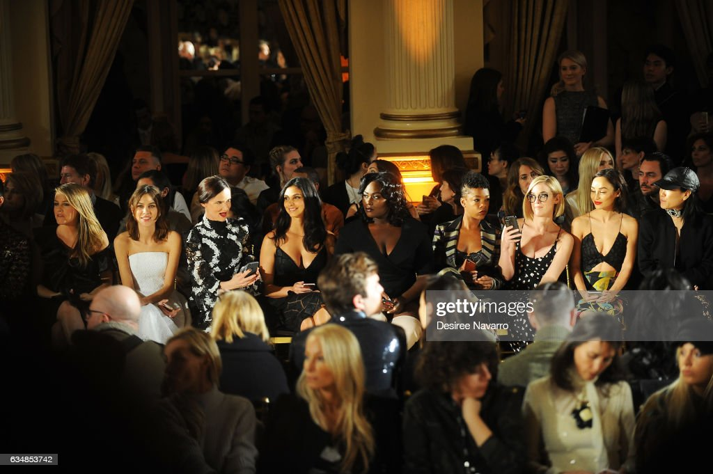 Alicia Silverstone, Alexa Chung, Juliette Lewis, Morena Baccarin, Danielle Brooks, Samira Wiley, Lauren Morelli and Cara Santana attend the Christian Siriano show during, New York Fashion Week: The Shows at The Plaza Hotel on February 11, 2017 in New York City.