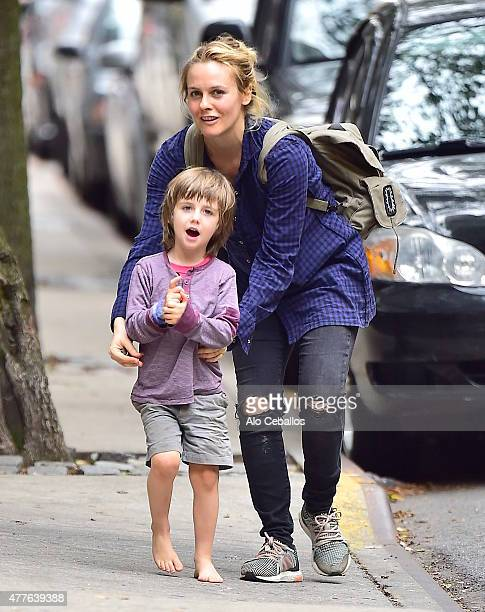 Alicia Silverstone and Bear Blu Jarecki are seen in soho on June 18, 2015 in New York City.