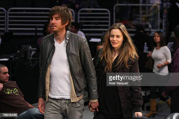 Alicia Silverstone and Christopher Jarecki attends the Los Angeles Lakers vs Phoenix Suns game at the Staples Center on December 25 2007 in Los...
