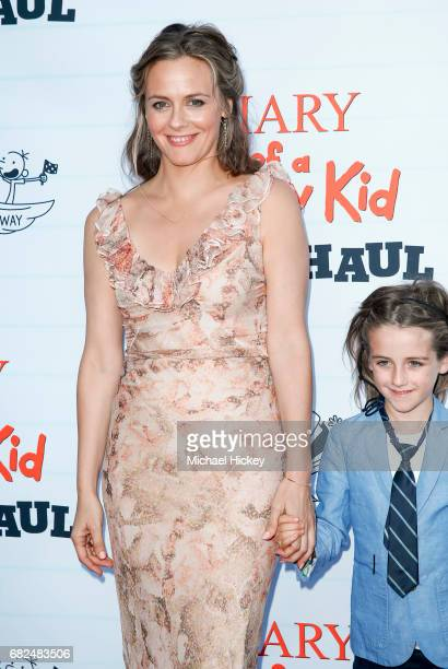 Alicia Silverstone and her son Bear Blu Jarecki appear at the premiere of Diary of a Wimpy Kid The Long Haul at the Indianapolis Motor Speedway on...