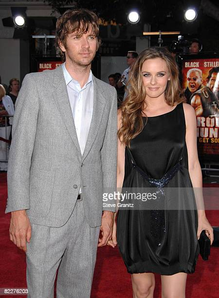 Alicia Silverstone and husband Christopher Jarecki arrives at the Los Angeles Premiere Of 'Tropic Thunder' at the Mann's Village Theater on August 11...