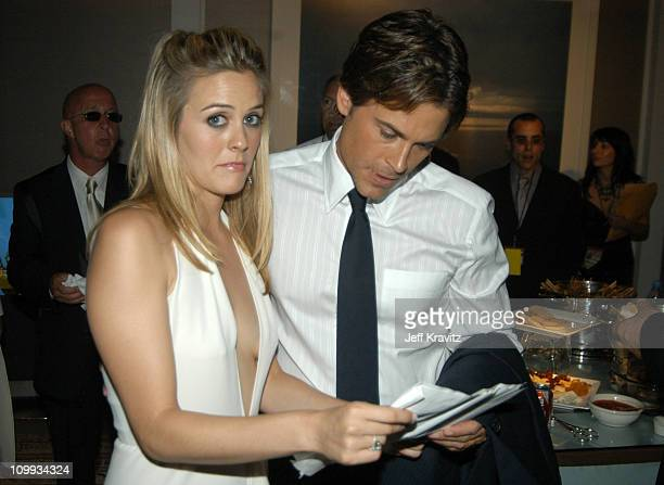Alicia Silverstone and Rob Lowe during 55th Annual Primetime Emmy Awards Backstage and Audience at The Shrine Auditorium in Los Angeles California...