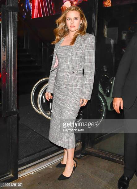 Alicia Silverstone is seen leaving the Christian Siriano Fall Winter 2020 NYFW at Spring Studios on February 6, 2020 in New York City.