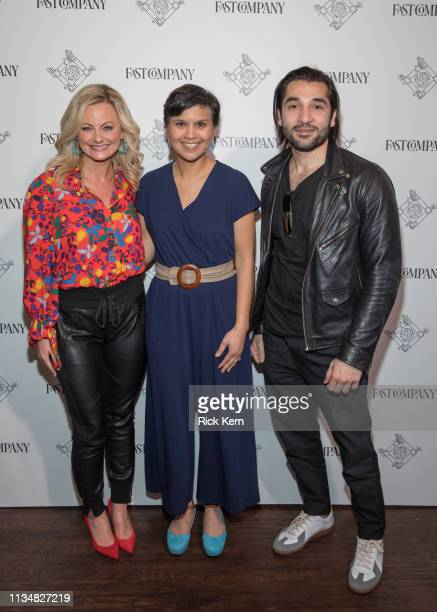 Alicia Tillman CMO SAP Stephanie Mehta EditorinChief Fast Company and Ahsan Rizvi Founder and CEO Kiddom attend the Fast Company Grill on March 09...