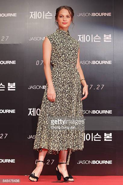 Alicia Vikandar attends the 'Jason Bourne' press conference on July 8 2016 in Seoul South Korea Alicia Vikandar is visiting South Korea to promote...