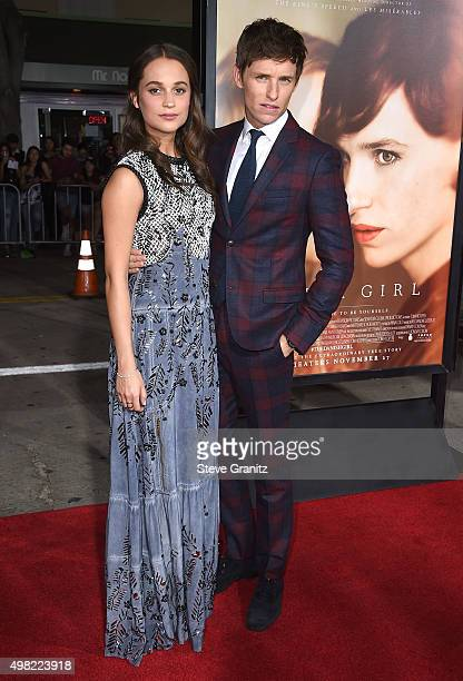 "Alicia Vikander and Eddie Redmayne arrives at the Premiere Of Focus Features' ""The Danish Girl"" at Westwood Village Theatre on November 21, 2015 in..."