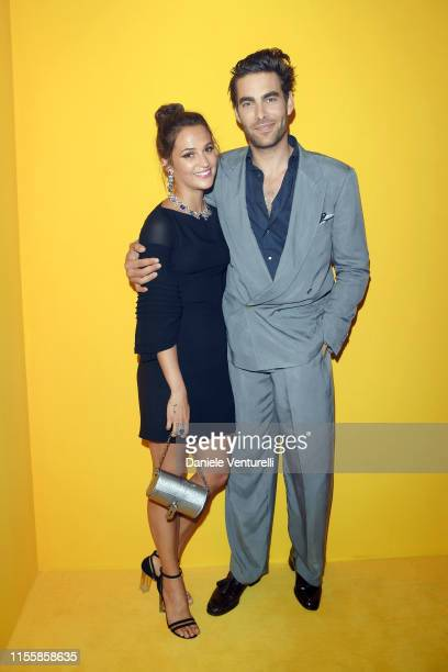 Alicia Vikander and Jon Kortajarena attend the Bvlgari Hight Jewelry Exhibition on June 13 2019 in Capri Italy