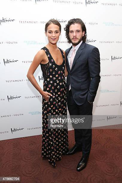 Alicia Vikander and Kit Harington attend Testament Of Youth New York premiere at Chelsea Bow Tie Cinemas on June 2 2015 in New York City
