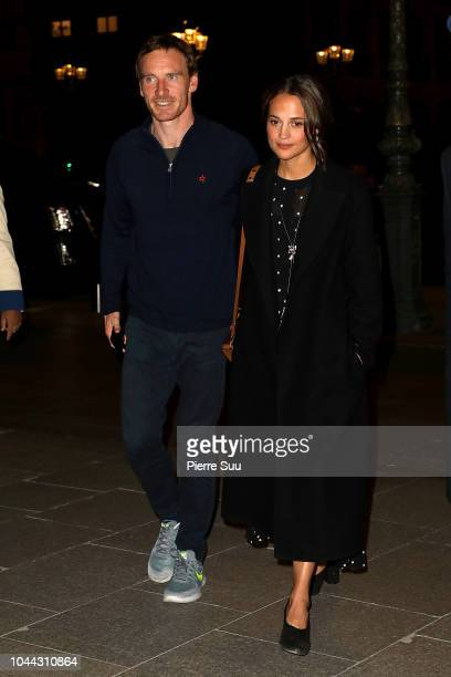 Alicia Vikander and Michael Fassbender arrive at their hotel on October 1, 2018 in Paris, France.