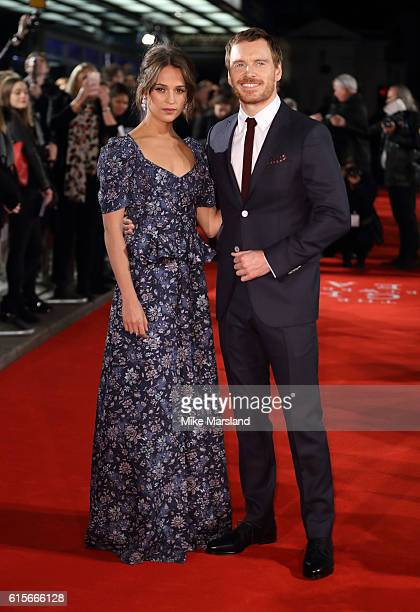 Alicia Vikander and Michael Fassbender arrive for the UK premiere of The Light Between Oceans at The Curzon Mayfair on October 19 2016 in London...