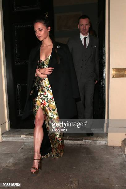 Alicia Vikander and Michael Fassbender seen at Tomb Raider dinner afterparty at Home House on March 6 2018 in London England