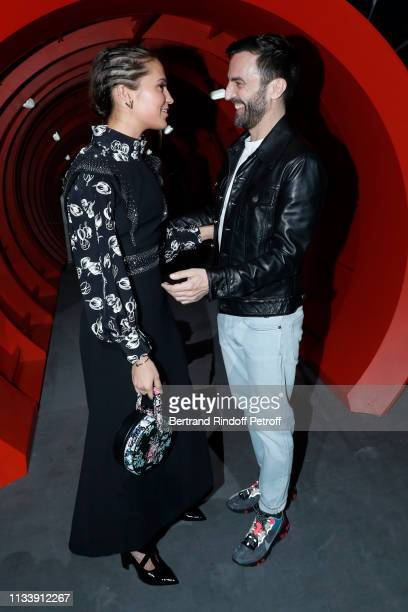 Alicia Vikander and Stylist Nicolas Ghesquiere pose after the Louis Vuitton show as part of the Paris Fashion Week Womenswear Fall/Winter 2019/2020...