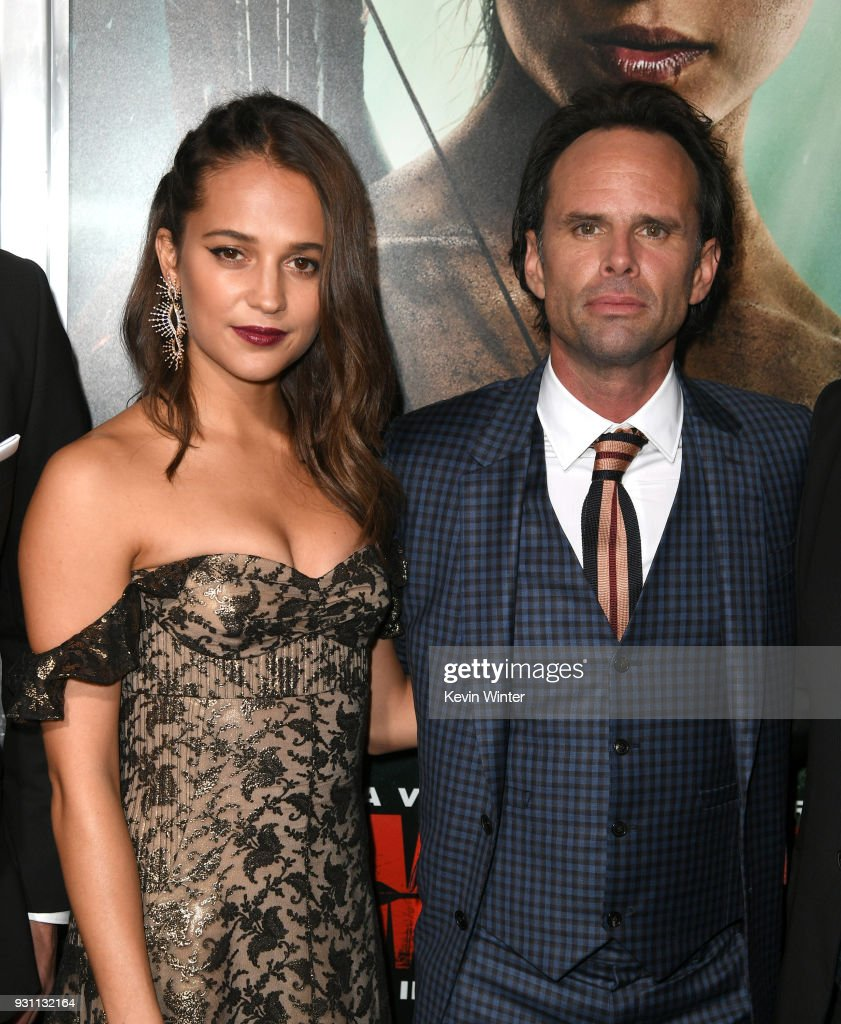 Alicia Vikander(L) and Walton Goggins attend the premiere of Warner Bros. Pictures' 'Tomb Raider' at TCL Chinese Theatre on March 12, 2018 in Hollywood, California.