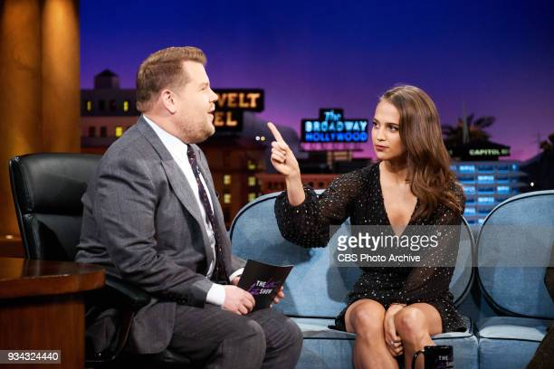 Alicia Vikander and Walton Goggins chat with James Corden during 'The Late Late Show with James Corden' Thursday March 15 2018 On The CBS Television...