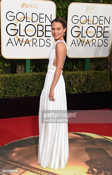 Alicia Vikander arrives at the 73nd annual Golden Globe Awards January 10 at the Beverly Hilton Hotel in Beverly Hills California AFP PHOTO / VALERIE...