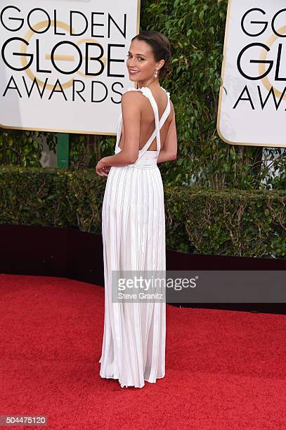 Alicia Vikander arrives at the 73rd Annual Golden Globe Awards at The Beverly Hilton Hotel on January 10 2016 in Beverly Hills California