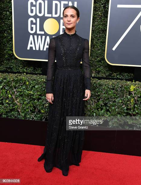 Alicia Vikander arrives at the 75th Annual Golden Globe Awards at The Beverly Hilton Hotel on January 7 2018 in Beverly Hills California