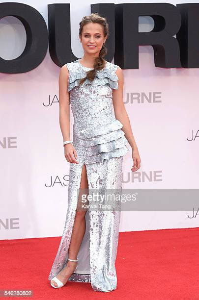 """Alicia Vikander arrives for the European premiere of """"Jason Bourne"""" at Odeon Leicester Square on July 11, 2016 in London, England."""