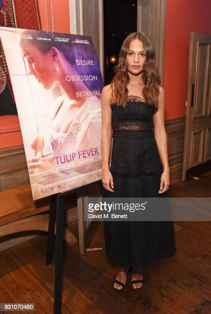Alicia Vikander attends a VIP preview screening of Tulip Fever at The Soho Hotel on August 13 2017 in London England