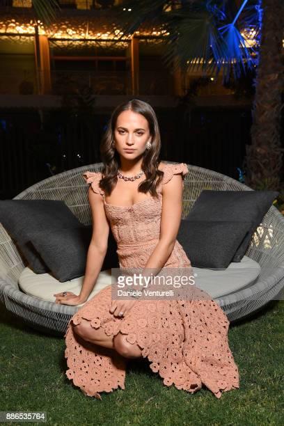 Alicia Vikander attends Grand Opening Bulgari Dubai Resort on December 5 2017 in Dubai United Arab Emirates