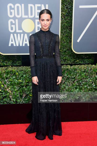 Alicia Vikander attends The 75th Annual Golden Globe Awards at The Beverly Hilton Hotel on January 7 2018 in Beverly Hills California