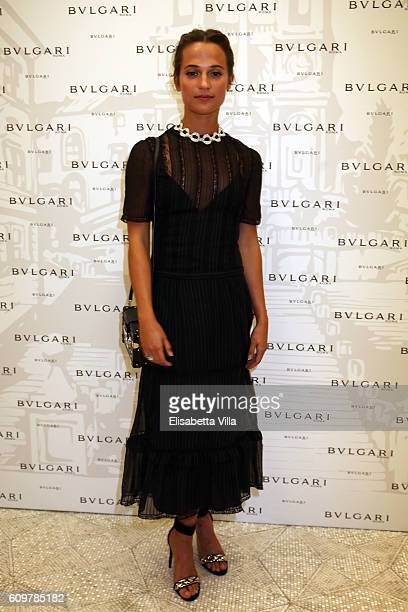 Alicia Vikander attends the Bvlgari Tribute To Spanish Steps Opening Event on September 22 2016 in Rome Italy