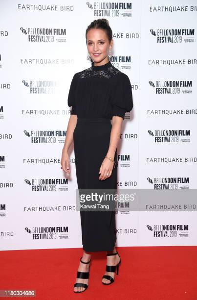 Alicia Vikander attends the Earthquake Bird World Premiere during the 63rd BFI London Film Festival at the Vue West End on October 10 2019 in London...