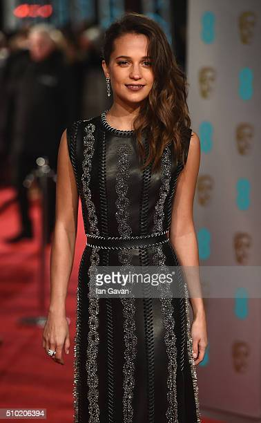 Alicia Vikander attends the EE British Academy Film Awards at the Royal Opera House on February 14 2016 in London England