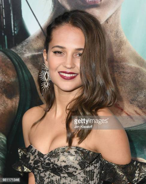 Alicia Vikander attends the Los Angeles Premiere Tomb Raider at TCL Chinese Theatre IMAX on March 12 2018 in Hollywood California