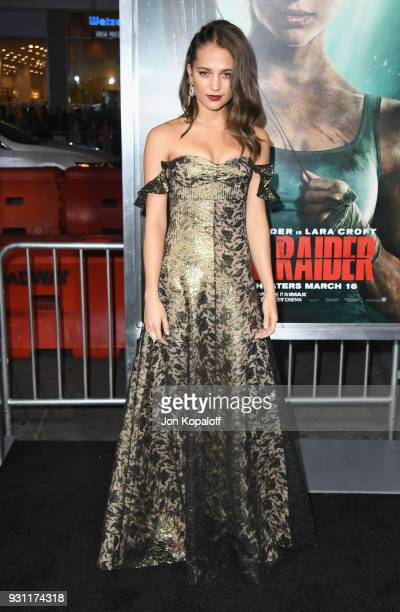 Alicia Vikander attends the Los Angeles Premiere 'Tomb Raider' at TCL Chinese Theatre IMAX on March 12 2018 in Hollywood California