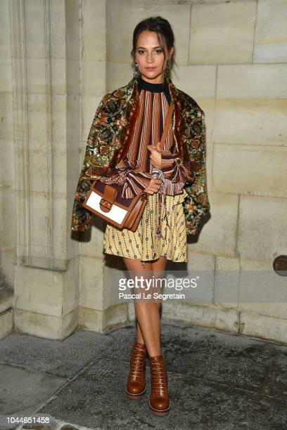 Alicia Vikander attends the Louis Vuitton show as part of the Paris Fashion Week Womenswear Spring/Summer 2019 on October 2 2018 in Paris France