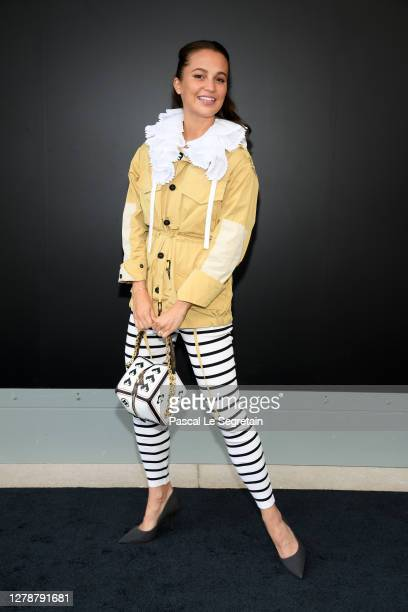 Alicia Vikander attends the Louis Vuitton Womenswear Spring/Summer 2021 show as part of Paris Fashion Week on October 06, 2020 in Paris, France.