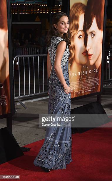 "Alicia Vikander attends the premiere of Focus Features' ""The Danish Girl"" at Westwood Village Theatre on November 21, 2015 in Westwood, California."