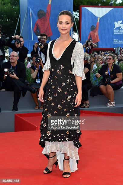 Alicia Vikander attends the premiere of 'The Light Between Oceans' during the 73rd Venice Film Festival at Sala Grande on September 2 2016 in Venice...