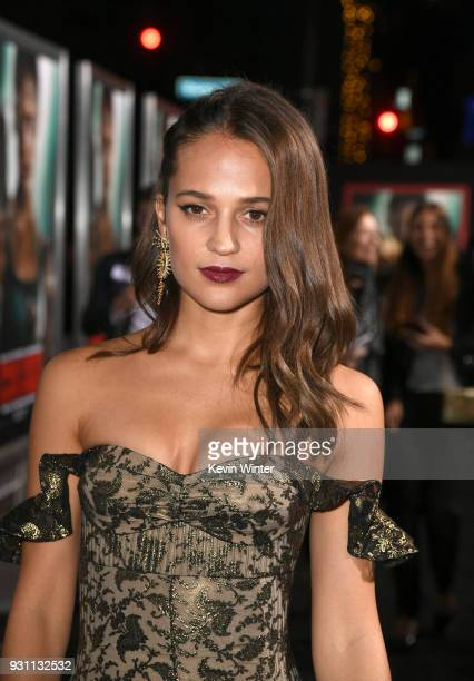 Alicia Vikander attends the premiere of Warner Bros Pictures' 'Tomb Raider' at TCL Chinese Theatre on March 12 2018 in Hollywood California